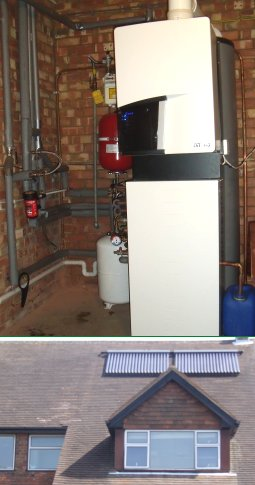 solar panel Q unit combined with a high efficiency boiler