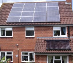 solar panel units on roof
